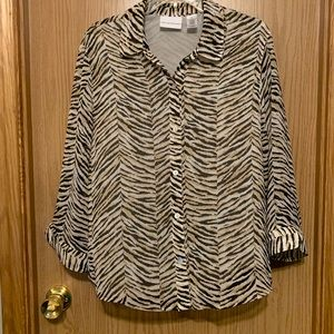 Alfred Dunner Animal Print Blouse Multi color
